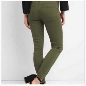 NWT GAP 24 True Skinny Army Green Ankle Zip Jeans